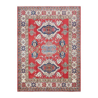 Herat Oriental Afghan Hand-knotted Kazak Red/ Ivory Wool Rug (6' x 8')