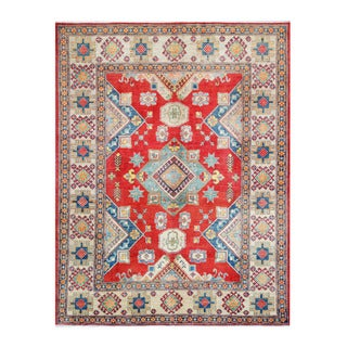 Herat Oriental Afghan Hand-knotted Kazak Red/ Ivory Wool Rug (6'8 x 8'7)