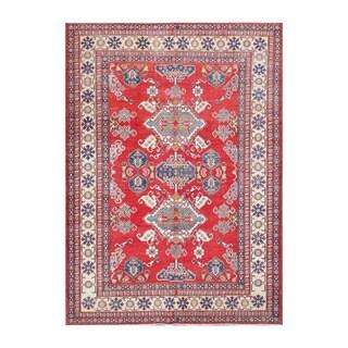 Herat Oriental Afghan Hand-knotted Kazak Red/ Ivory Wool Rug (7'2 x 10'1)