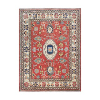Herat Oriental Afghan Hand-knotted Kazak Red/ Ivory Wool Rug (7'4 x 9'9)