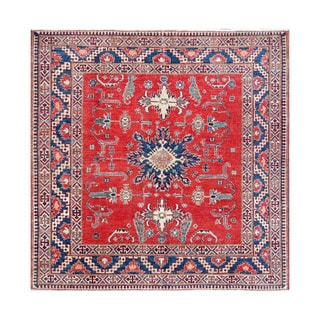 Herat Oriental Afghan Hand-knotted Kazak Red/ Ivory Wool Rug (6'6 x 6'9)