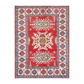 Herat Oriental Afghan Hand-knotted Kazak Red/ Ivory Wool Rug (6'7 x 8'7)