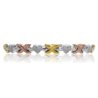 Sterling Essentials 14K Tri-color Gold Plated Silver Hugs and Kisses Bracelet