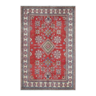 Herat Oriental Afghan Hand-knotted Kazak Red/ Ivory Wool Rug (7' x 10'5)