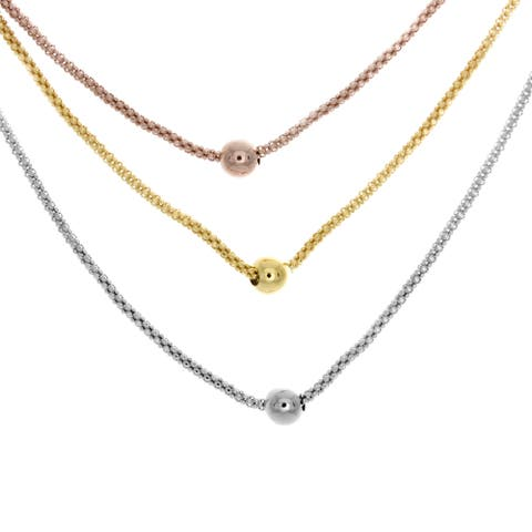 Sterling Essentials 14K Tri-color Gold Plated Silver Triple Strand Bead Necklace