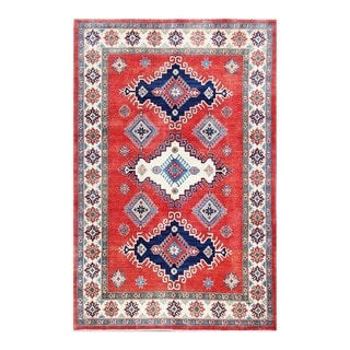Herat Oriental Afghan Hand-knotted Kazak Red/ Ivory Wool Rug (6'8 x 10'3)