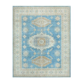 Herat Oriental Afghan Hand-knotted Vegetable Dye Oushak Light Blue/ Ivory Wool Rug (8' x 9'10)