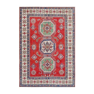 Herat Oriental Afghan Hand-knotted Kazak Red/ Ivory Wool Rug (7'1 x 10'3)