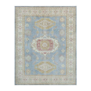 Herat Oriental Afghan Hand-knotted Vegetable Dye Oushak Light Blue/ Ivory Wool Rug (7'10 x 10')