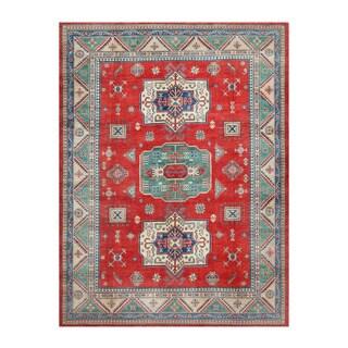 Herat Oriental Afghan Hand-knotted Kazak Red/ Ivory Wool Rug (9' x 11'10)