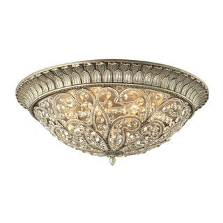 Andalusia Collection Aged Silver 8-light Flush Mount Fixture