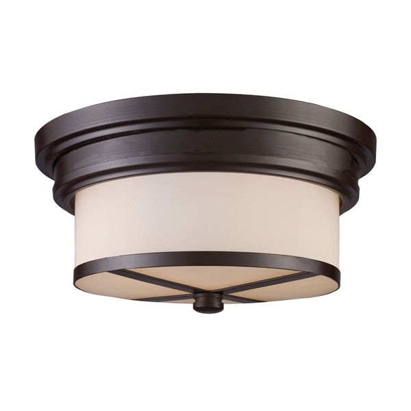 Flush Mount Oiled Bronze 2-light Fixture