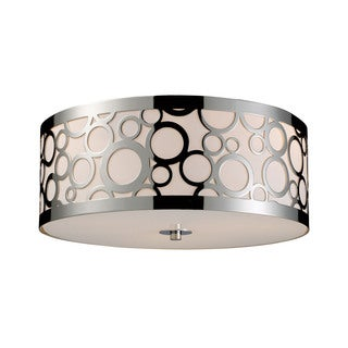 Retrovia Polished Nickel 3-light Flush Mount Fixture