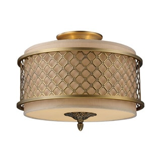 Chester Brushed Antique Brass 3-light Semi Flush Fixture