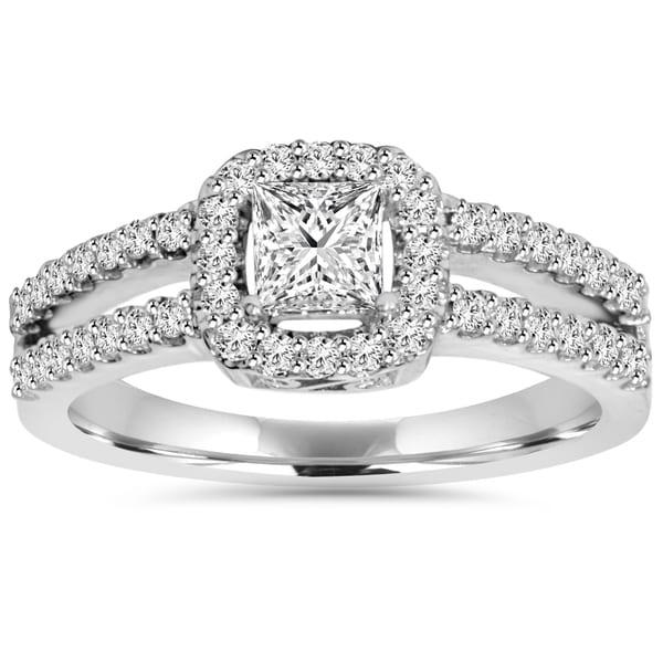 Shop 14k White Gold 1 ct TDW Princess-cut Diamond Halo ...