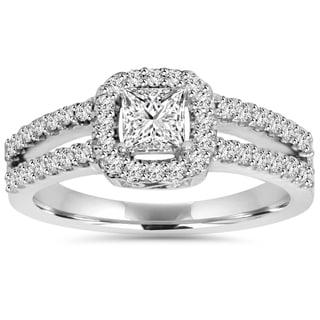 14k White Gold 1 ct TDW Princess-cut Diamond Halo Split Shank Engagement Ring