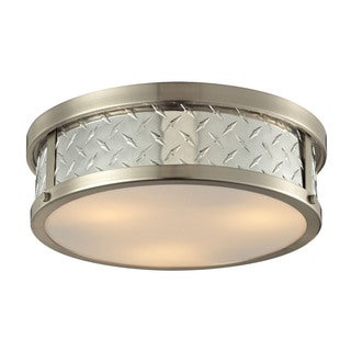 Diamond Plate Collection Brushed Nickel 3-light Flush Mount Fixture