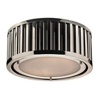 Linden Collection Polished Nickel 2-light Flush Mount Fixture