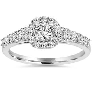 14k White Gold 3/4ct TDW Diamond Halo Engagement Ring