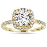 14k Yellow Gold 2 ct TDW Clarity Enhanced Diamond Halo Engagement Ring