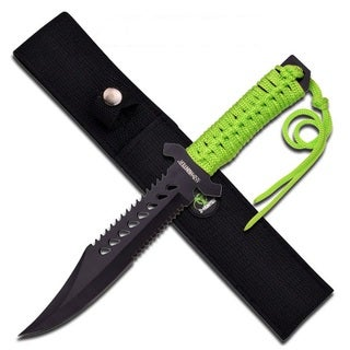 Z-Hunter 11.5-inch Fixed Blade Knife With Green Cord Wrap Handle