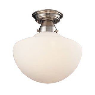 Schoolhouse Flushes Satin Nickel 1-light Semi Flush Fixture