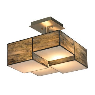 Cubist Collection Brushed Nickel 2-light Semi Flush Fixture
