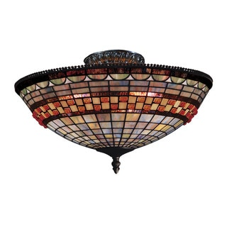 Jewelstone Classic Bronze 3-light Semi Flush Fixture