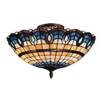 Victorian Ribbon Classic Bronze 3-light Semi Flush Fixture