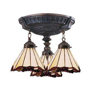 Grape Trellis Mix-N-Match Aged Walnut 3-light Semi Flush Fixture