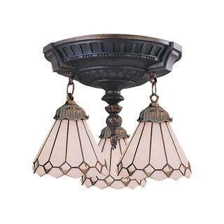 Diamond Mix-N-Match Aged Walnut 3-light Semi Flush Fixture
