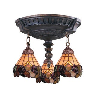 Grapevine Mix-N-Match Aged Walnut 3-light Semi Flush Fixture
