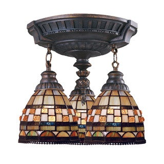 Jewelstone Mix-N-Match Aged Walnut 3-light Semi Flush Fixture
