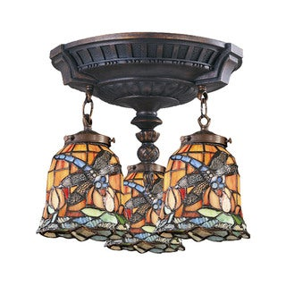 Dragonfly Mix-N-Match Aged Walnut 3-light Semi Flush Fixture