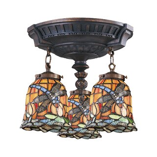 Dragonfly Mix-N-Match Aged Walnut 3-light Semi Flush Fixture (2 options available)