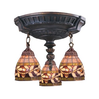 English Ivy Mix-N-Match Aged Walnut 3-light Semi Flush Fixture