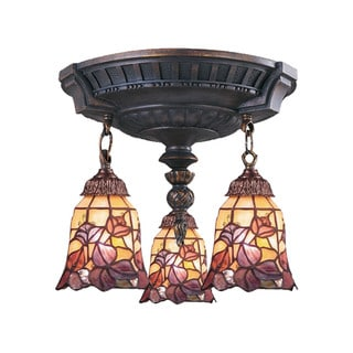 Floral Mix-N-Match Aged Walnut 3-light Semi Flush Fixture