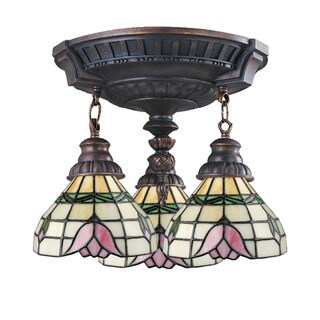 Tulip Mix-N-Match Aged Walnut 3-light Semi Flush Fixture
