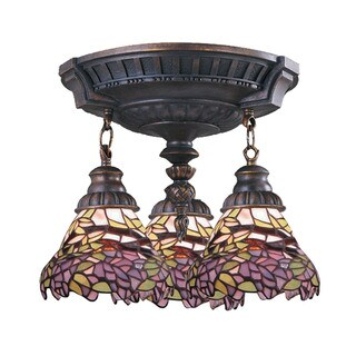 Lilac Mix-N-Match Aged Walnut 3-light Semi Flush Fixture