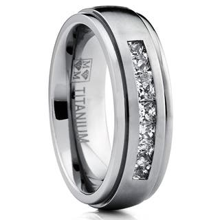 Oliveti Titanium Men's Channel-set Princess-cut Cubic Zirconia Dome Wedding Band|https://ak1.ostkcdn.com/images/products/10231572/P17352032.jpg?impolicy=medium