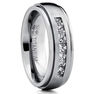 Oliveti Titanium Men's Channel-set Princess-cut Cubic Zirconia Dome Wedding Band (Option: 9.5)