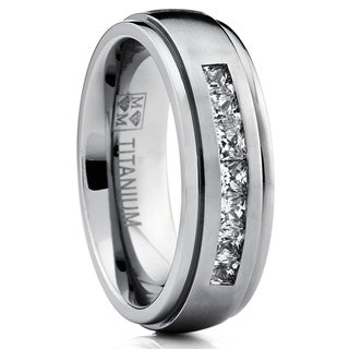 Oliveti Titanium Men's Channel-set Princess-cut Cubic Zirconia Dome Wedding Band