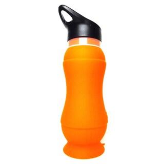 Foldable 20-ounce Orange Silicone Water Bottle (Set of 2)