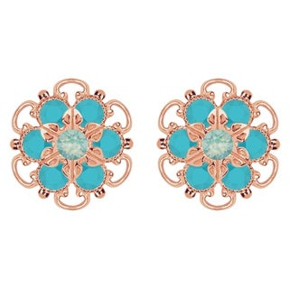 Lucia Costin Rose Gold Over Sterling Silver Mint Blue/ Turquoise Crystal Earrings
