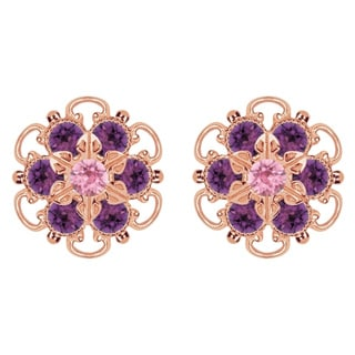 Lucia Costin Rose Gold Over Sterling Silver Violet/ Light Pink Crystal Earrings