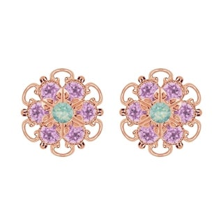 Lucia Costin Rose Gold Over Sterling Silver Mint Blue/ Lilac Crystal Earrings
