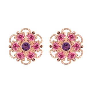 Lucia Costin Rose Gold Over Sterling Silver Violet/ Pink Crystal Earrings