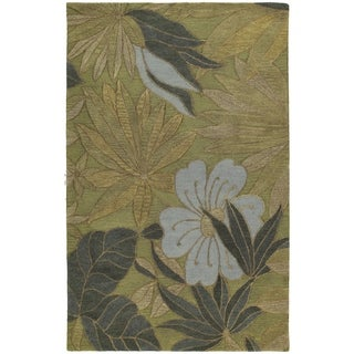 Handmade Calais Blooming Heights Green Wool Rug (8' x 11')