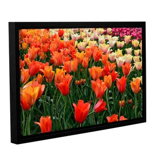 ArtWall Kevin Calkins ' Tulips In Spring ' Gallery-Wrapped Floater-Framed Canvas