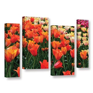 ArtWall Kevin Calkins ' Tulips In Spring 4 Piece ' Gallery-Wrapped Canvas Staggered Set
